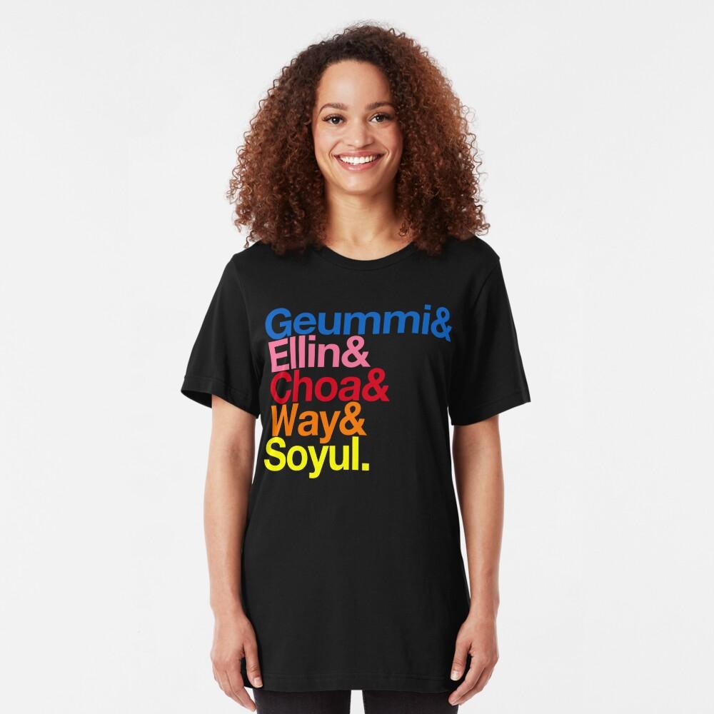Crayon Pop goes Helvetica (Color) Slim Fit T-Shirt