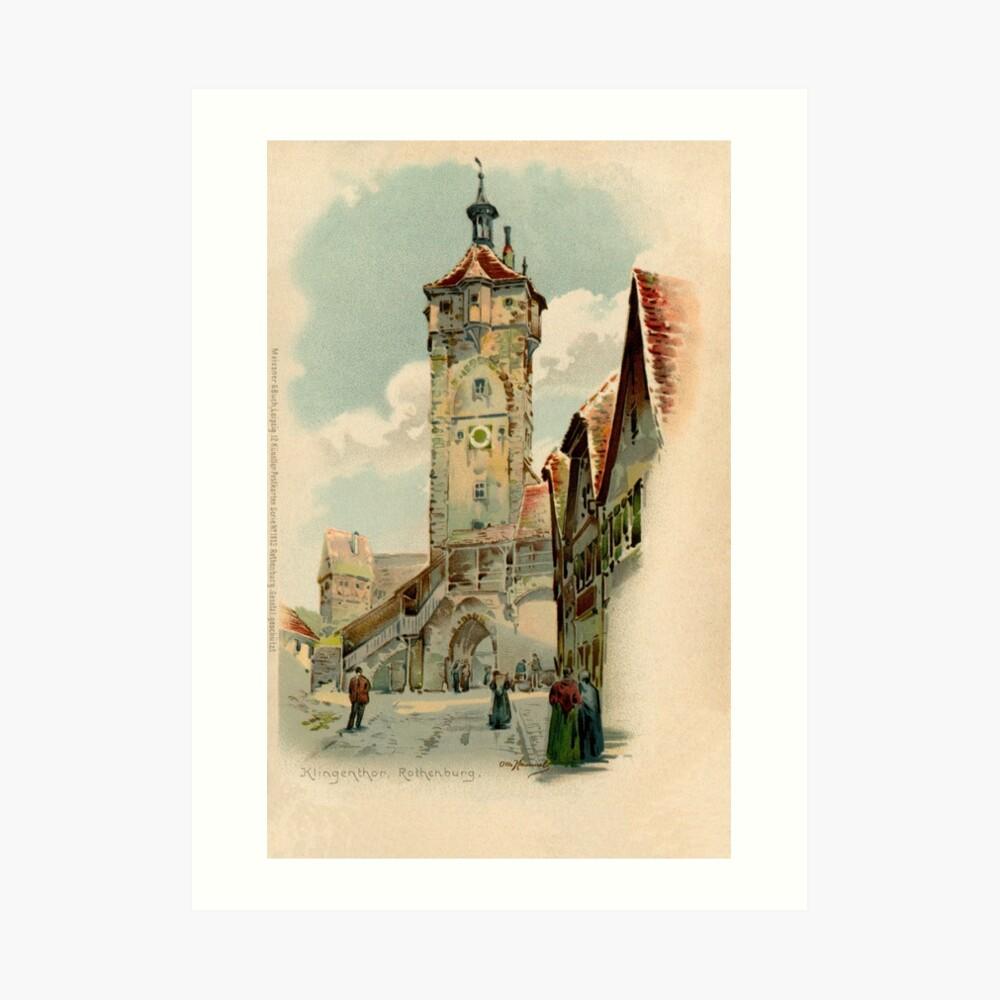 Aquarelle watercolor Rothenburg ob der Tauber Art Print