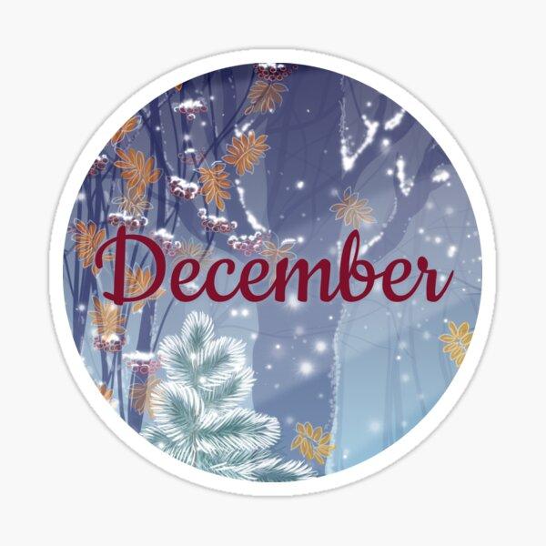 December monthly image for bullet journals & greeting cards Sticker
