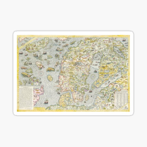 Vintage Map of Scandinavia with Mythical Creatures Sticker