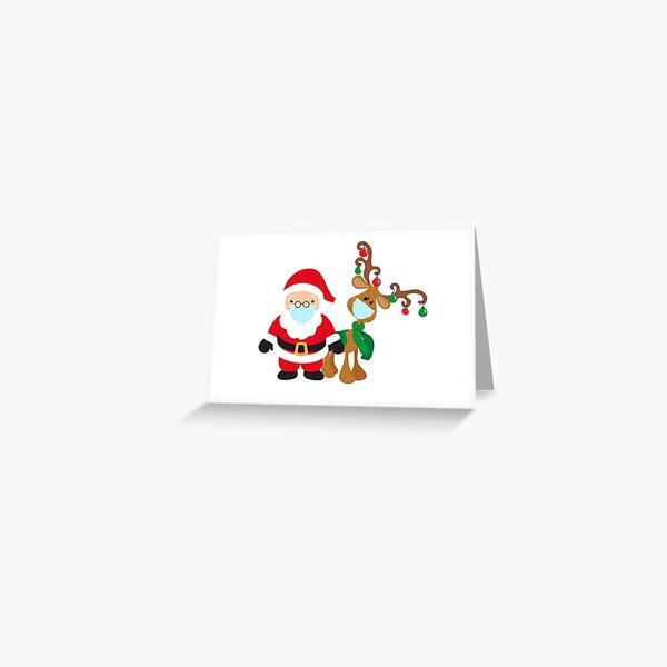 Renne et Père Noël portant des masques pour le visage 2020 Noël Carte de vœux