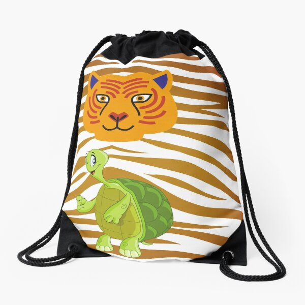 Sea turtle and a tiger Backpack - turtle and a tiger backpack Drawstring Bag