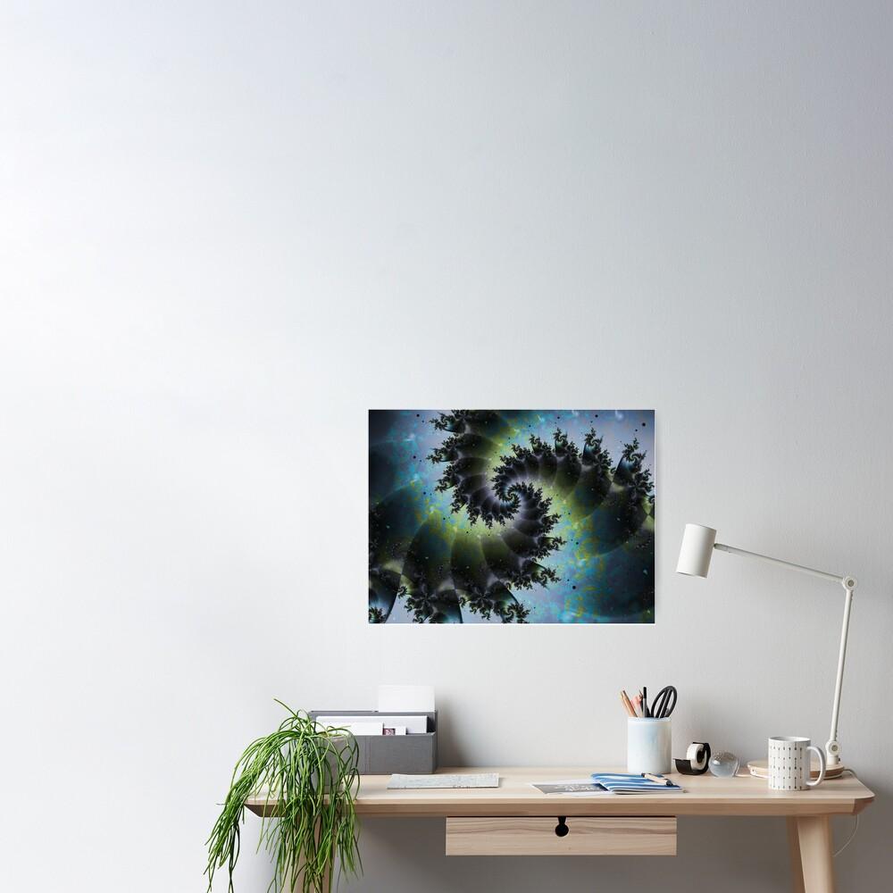 Blue Spiral Galaxy Poster