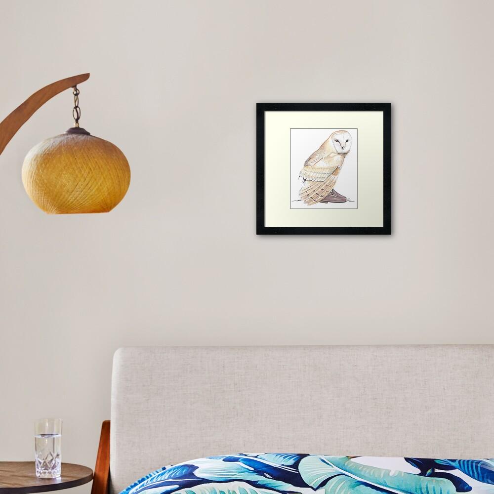 Barn owl in penny loafers Framed Art Print