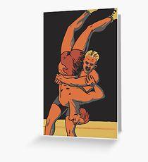 Retro-Freistil-Olympia-Wrestling Grußkarte