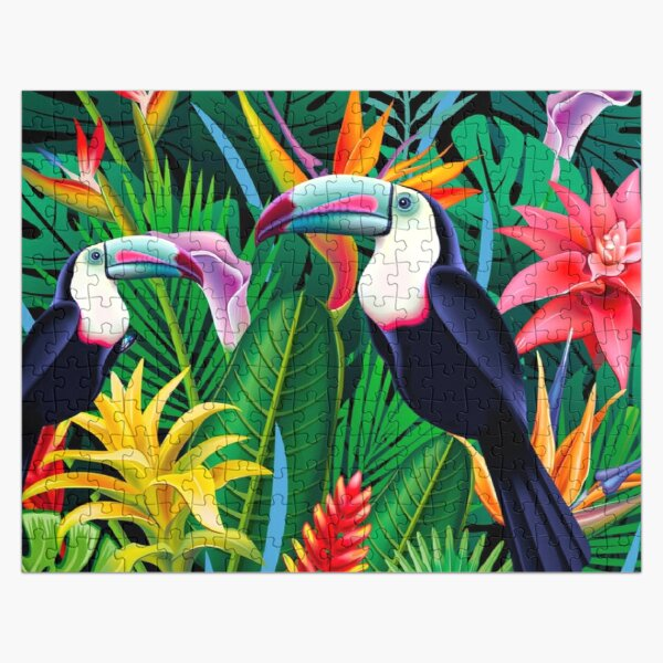 Tropical Toucans Pattern  Jigsaw Puzzle