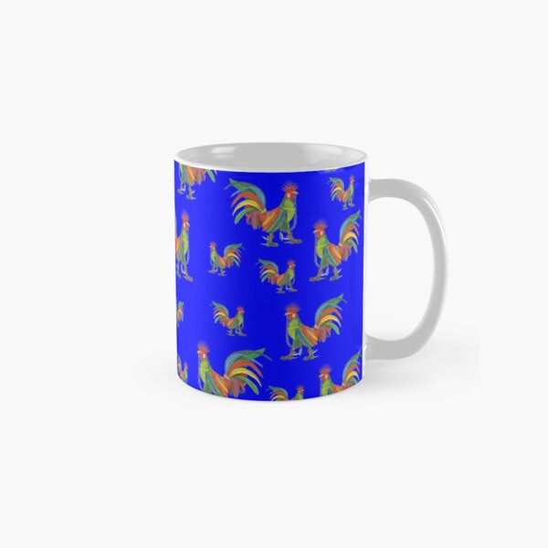 Punky Rooster Pattern on Blue Prime Classic Mug