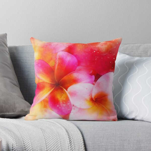Hawaiian Plumeria in Neon Pink, Yellow, and White - Bright Tropical Floral Throw Pillow