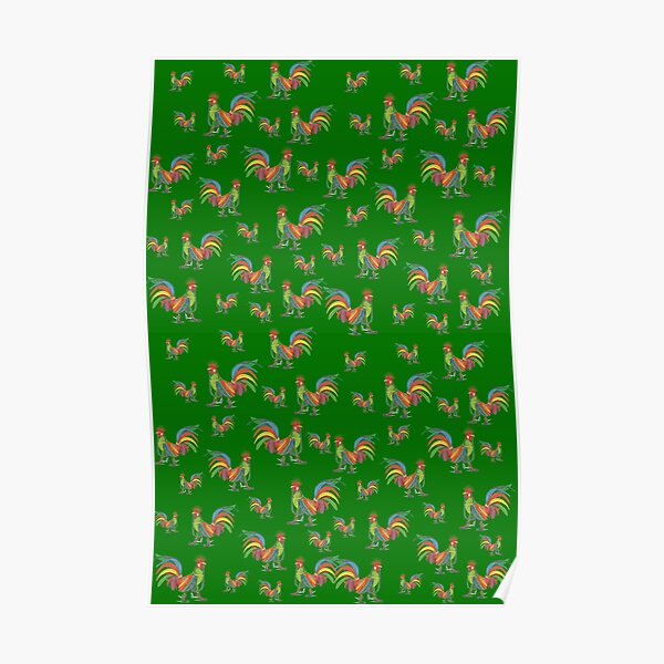 Punky Rooster Pattern on Grass Green Poster