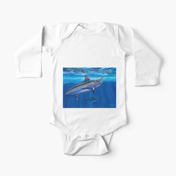Blue Marlin Bite Long Sleeve Baby One-Piece