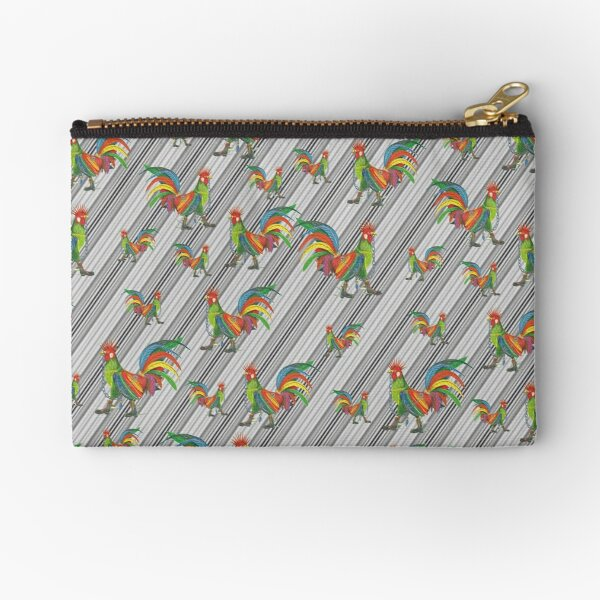 Punky Rooster Pattern on Lite Gray Stripped Zipper Pouch