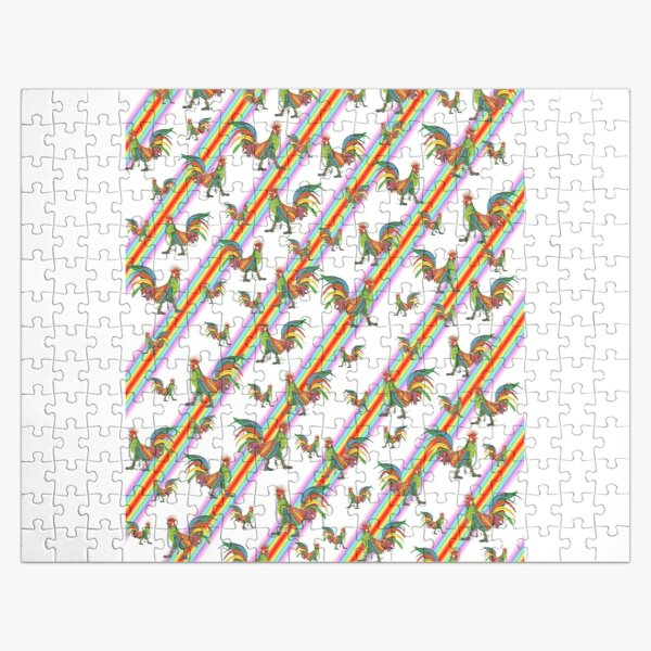 Punky Rooster Pattern on Rainbow Jigsaw Puzzle