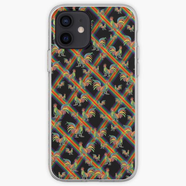Punky Rooster Pattern on Rainbow Hatched Black iPhone Soft Case