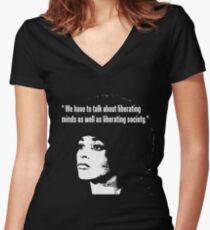 ANGELA DAVIS Women's Fitted V-Neck T-Shirt