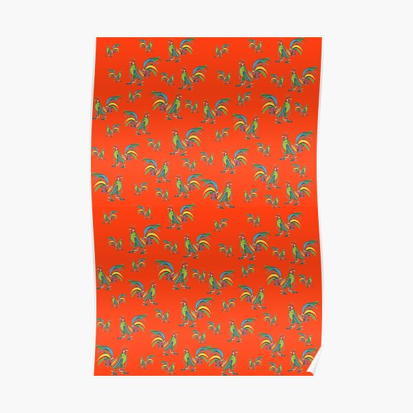 Punky Rooster Pattern on Red Orange Poster