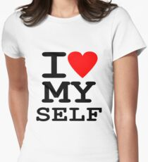 Parody, satire, humour, I heart MY self Womens Fitted T-Shirt