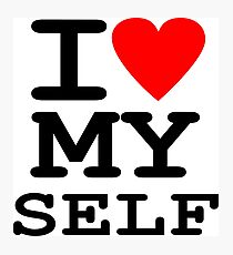 Parody, satire, humour, I heart MY self Photographic Print