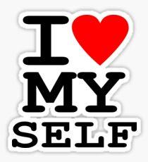 Parody, satire, humour, I heart MY self Sticker