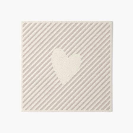 Stripes and Heart. Alabaster and Light Grayish Red Colors.  Art Board Print