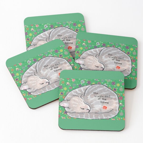 Curled-up Cat Coasters (Set of 4)