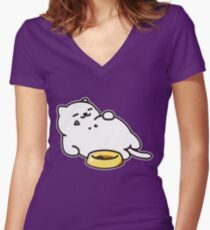 Neko atsume - Tubbs cat Women's Fitted V-Neck T-Shirt