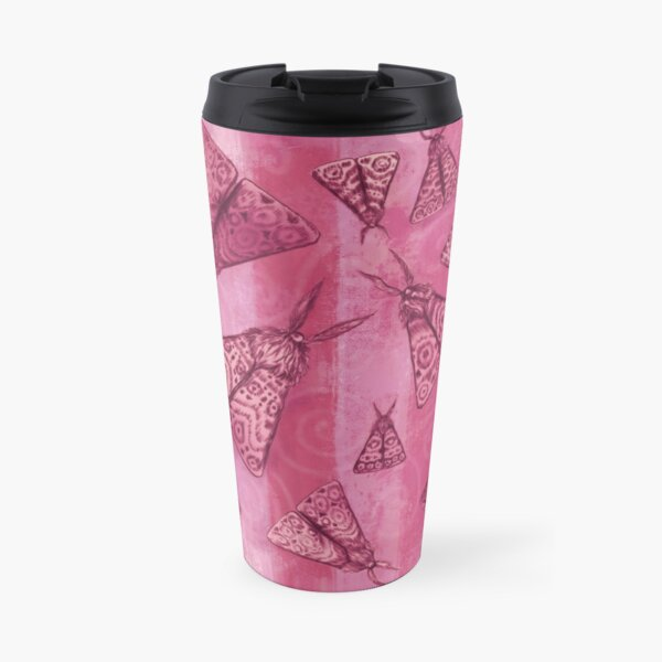 Moths Pink Travel Mug