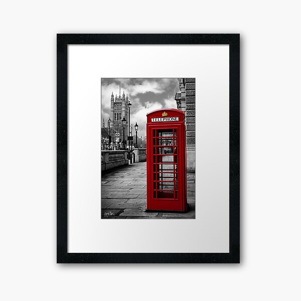 Iconic London: Red Phone Booth Framed Art Print