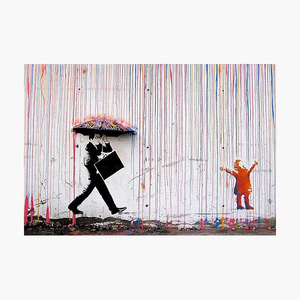 Banksy Red Colored Paint Rain Street Art Print Modern Contemporary Canvas Print Photographic Print