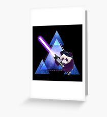Galactic Panda With Lightsaber Greeting Card