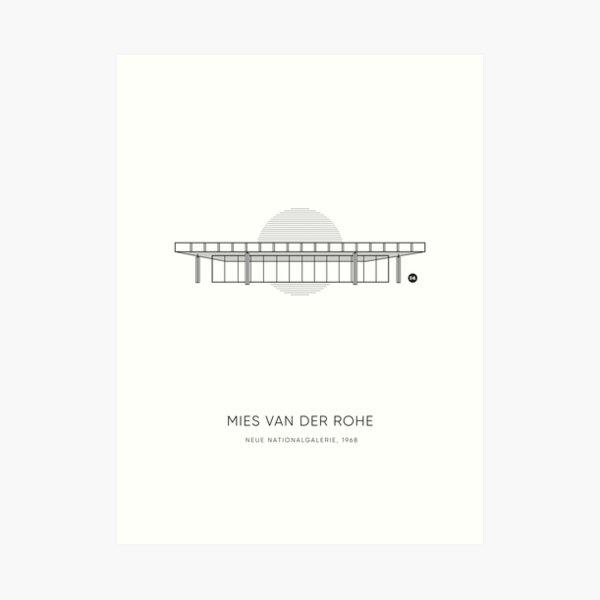 Mies Van Der Rohe | Neue Nationalgalerie Graphic Line Drawing Art Print