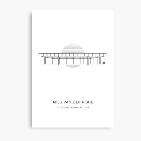 Mies Van Der Rohe | Neue Nationalgalerie Graphic Line Drawing Metal Print