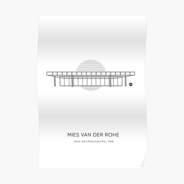 Mies Van Der Rohe | Neue Nationalgalerie Graphic Line Drawing Poster