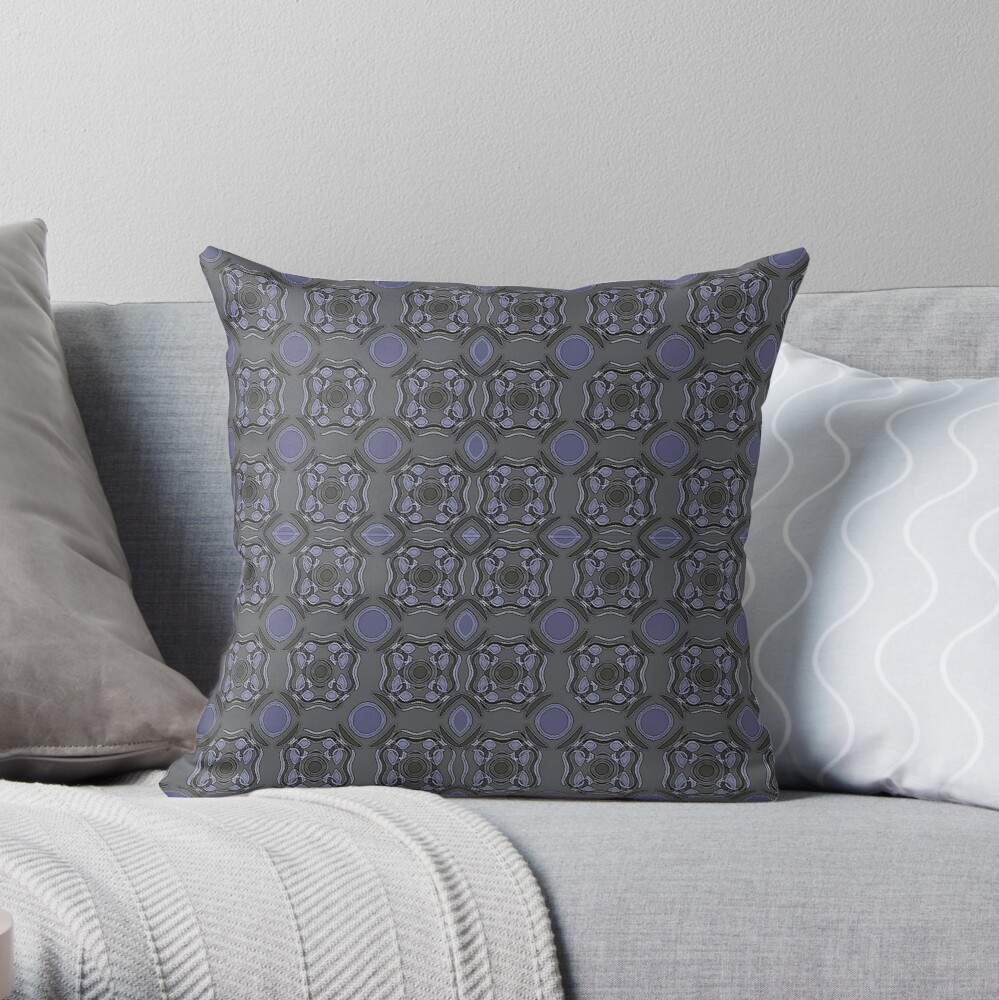MUTED DARK BLUE ABSTRACT PATTERN BY OZCUSHIONSTOO Throw Pillow