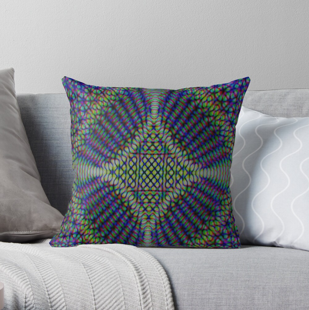 BLUE AND GREEN MOSAIC MANDALA PATTERN WITH DIAMONDS Throw Pillow