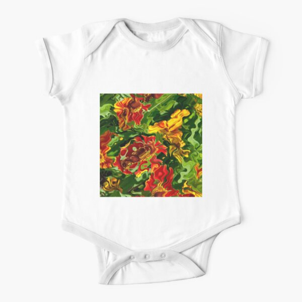 Colorful Acrylic Abstract flowers Short Sleeve Baby One-Piece