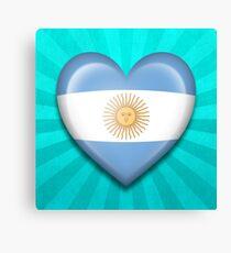 Argentinian Heart Flag Canvas Print