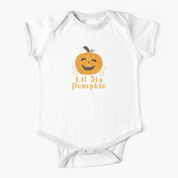 Family Matching Pumpkin Outfits - Lil Sis Pumpkin Short Sleeve Baby One-Piece