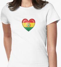 Bolivian Heart Flag Women's Fitted T-Shirt