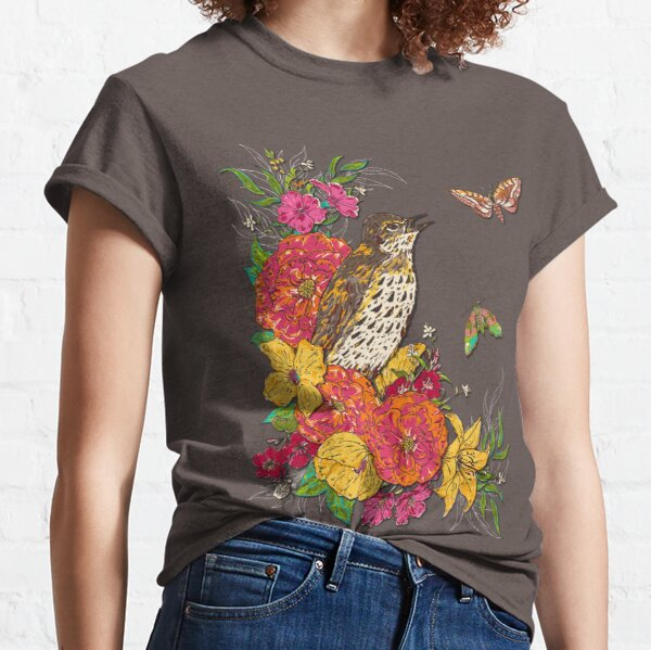 Floral Song Thrush Classic T-Shirt