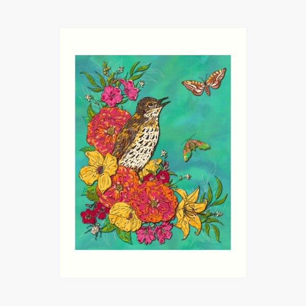 Floral Song Thrush Art Print