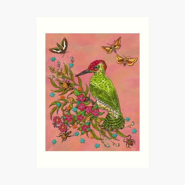 Floral Woodpecker Art Print