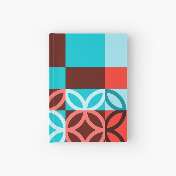 Checkered Circles Red and Blue Pattern Vivid Version Hardcover Journal