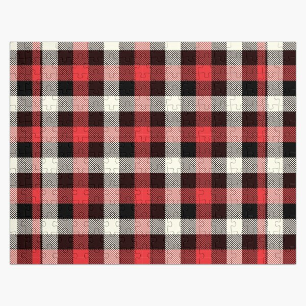red and black flannel, buffalo plaid flannel fabric Jigsaw Puzzle