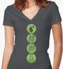 BEER: Water, Barley, Hops & Yeast Women's Fitted V-Neck T-Shirt