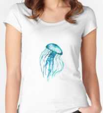 Watercolor Jellyfish Women's Fitted Scoop T-Shirt