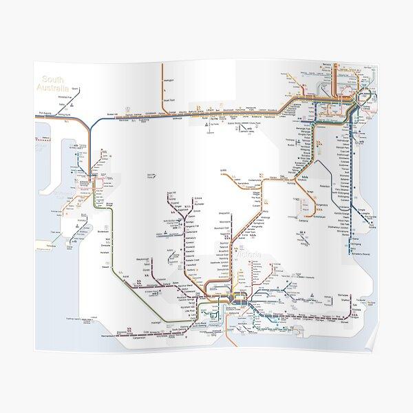 Rail Map of South-Eastern Australia Poster