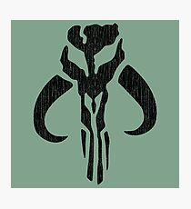 Mandalorian (black, distressed) Photographic Print