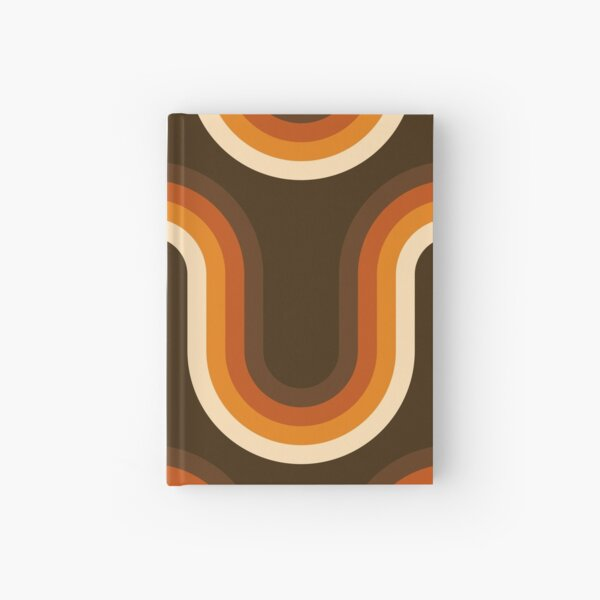70s Pattern Orange and Brown Waves Hardcover Journal