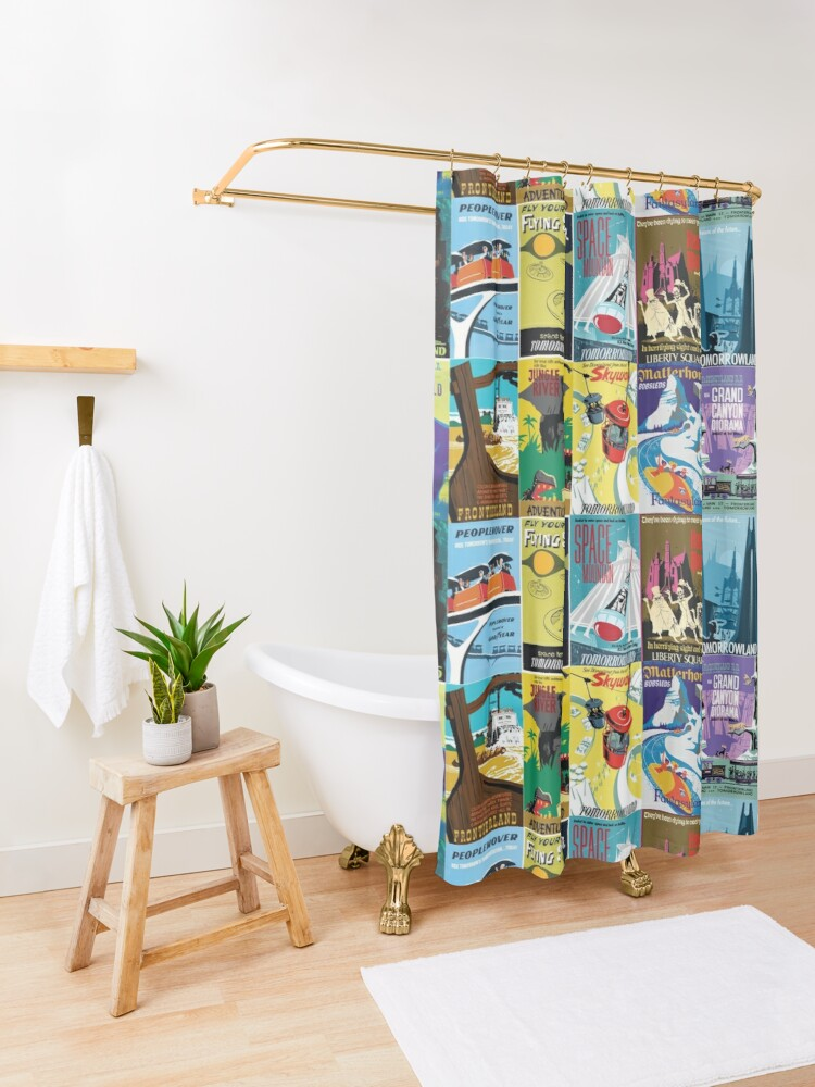 Alternate view of Vintage Ride Posters Shower Curtain