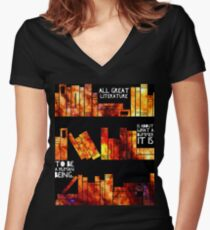 all great literature  Women's Fitted V-Neck T-Shirt